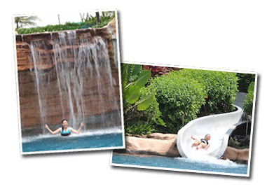 Pan Pacific Nirwana Resort swimming pool, waterfall and waterslide