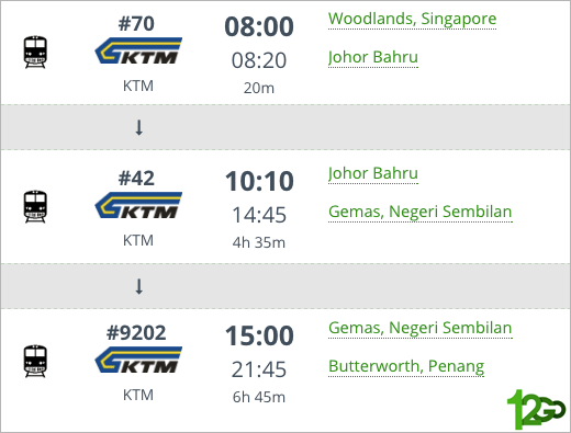 KTM Train Schedule: Singapore-Butterworth book via 12go.asia