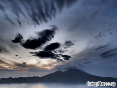 Mount Batur Sunrise over Lake Batur and Mount Agung