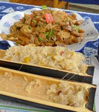 Glutinous rice in bamboo