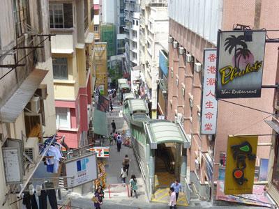 Central-Mid-levels escalators, Hong Kong by CrispyRice via http://www.flickr.com/photos/crispyrice/5786229234/