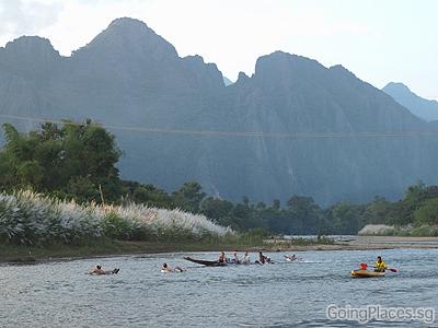 Tubing and kayaking along Nam Song River, Vang Vieng