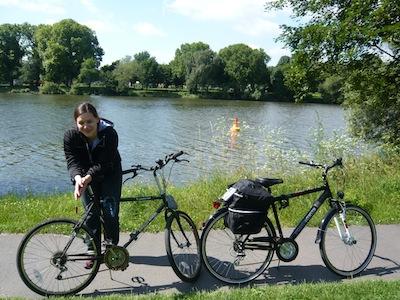 Cycling Along River Main