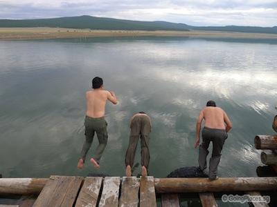 Jumping Into Lake Hovsgol