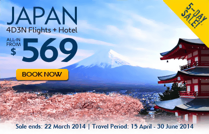 Japan 4D3N Flights+Hotel from $569