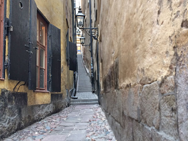 The cobbled street of Gamla Stan