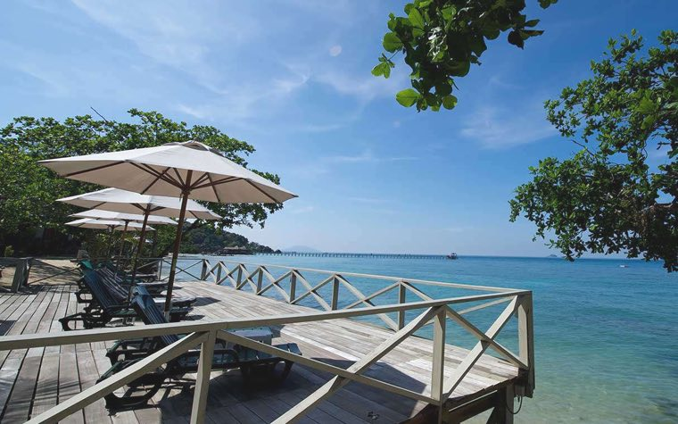 Sun deck outside the beach villa at Tunamaya Resort, Tioman Island