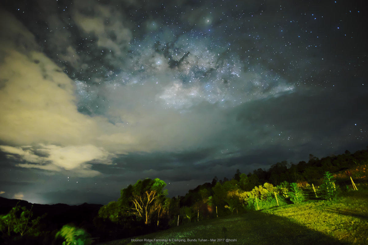 Glimpse of Milky Waky on a cloudy night at Hounon Ridge Farmstay & Camping