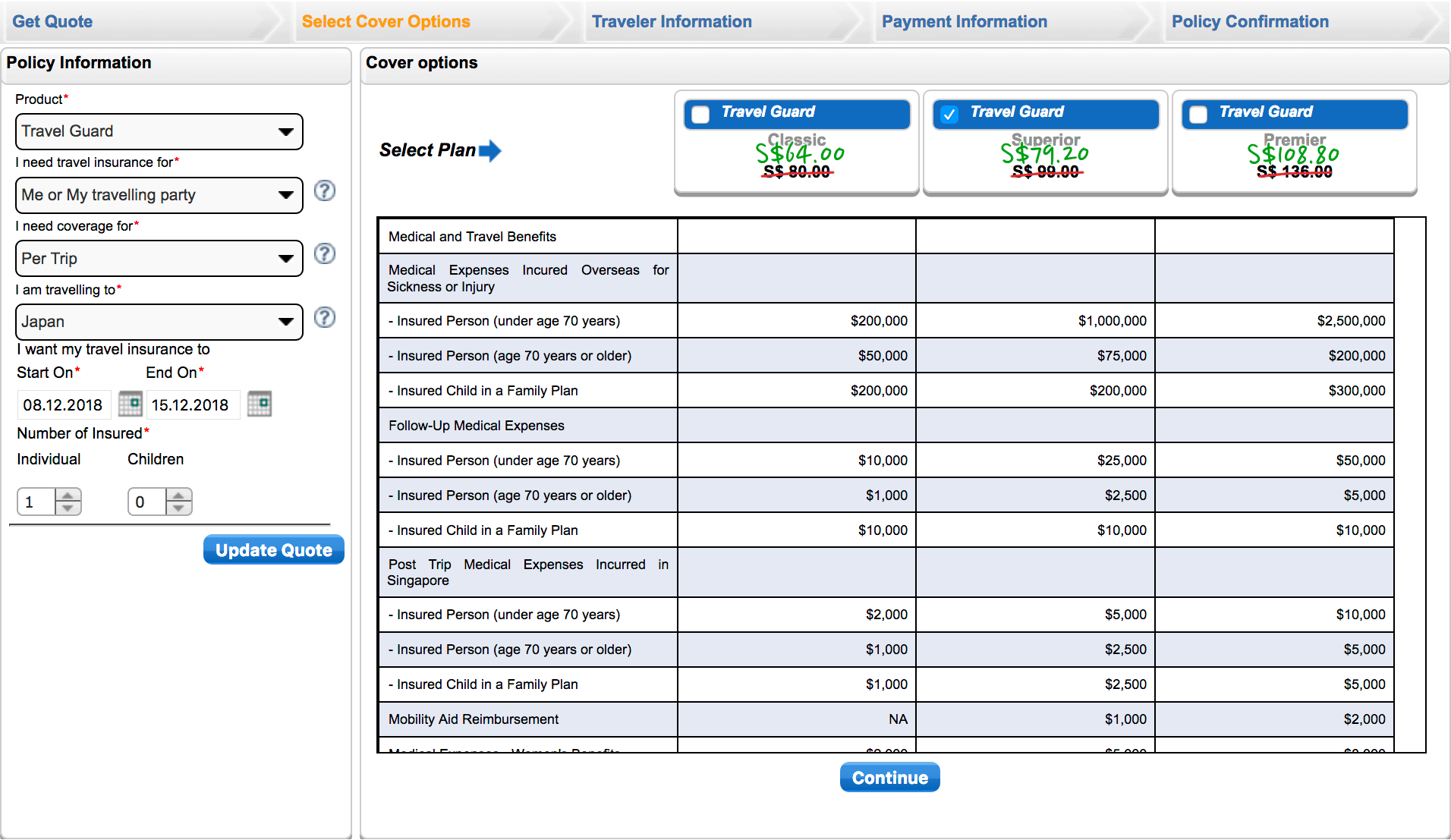 AIG Promo instant quote table before and after 20% off for a 8-day Japan trip